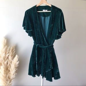 BB Dakota Green Velvet Wrap Dress